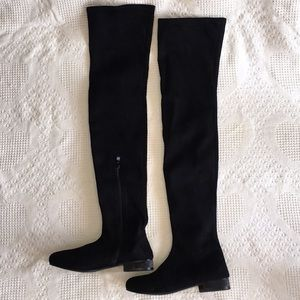 Shoes - Thigh High Black Suede Boots